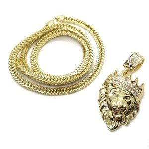 Other - 18k Real Gold Plated Crown Lion Pendant with Chain